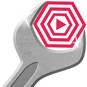 Wrench Fixing Pink Play Button